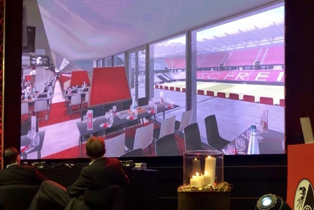 Wie das neue SC-Stadion eines Tages au...m Neujahrsempfang des Vereins gezeigt.  | Foto: Joachim Röderer