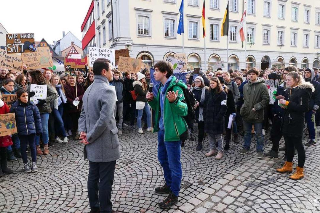 Widerspruch erhielt OB Steffens von Ja...oloff von Fridays for Future Offenburg  | Foto: Ralf Burgmaier