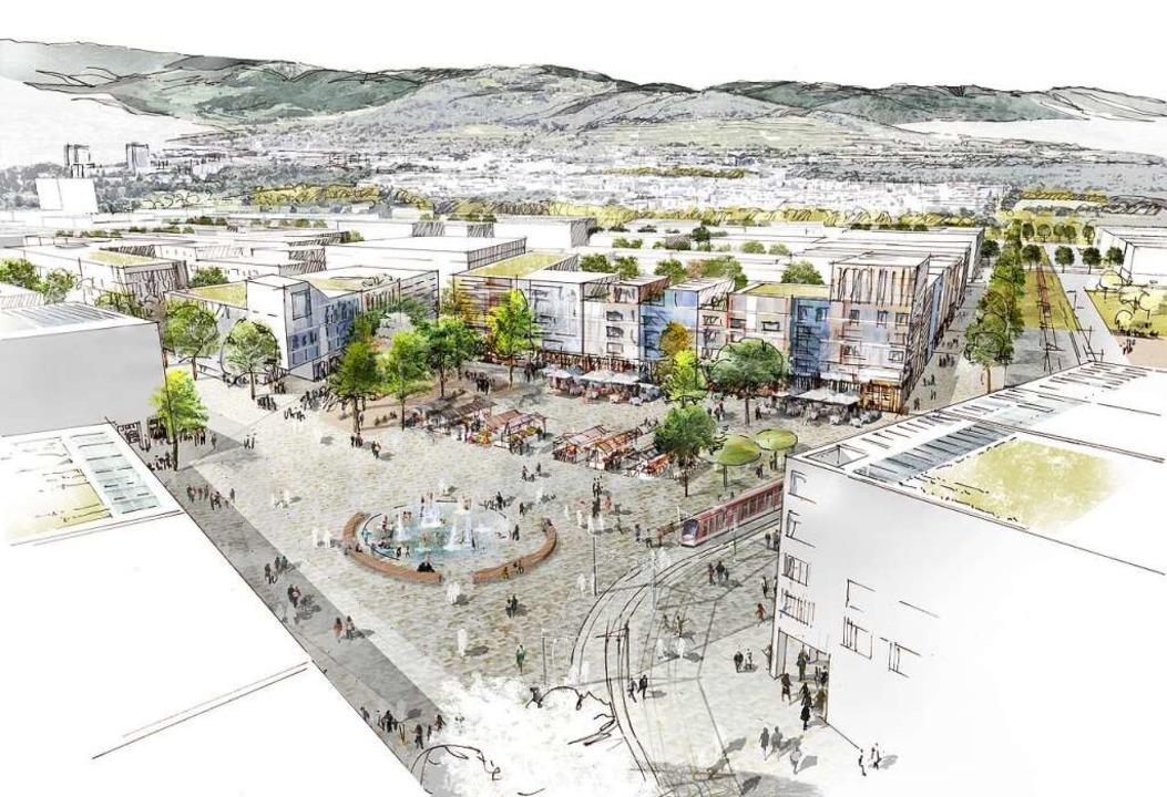 So könnte der zentrale Platz im neuen Stadtteil Dietenbach aussehen.