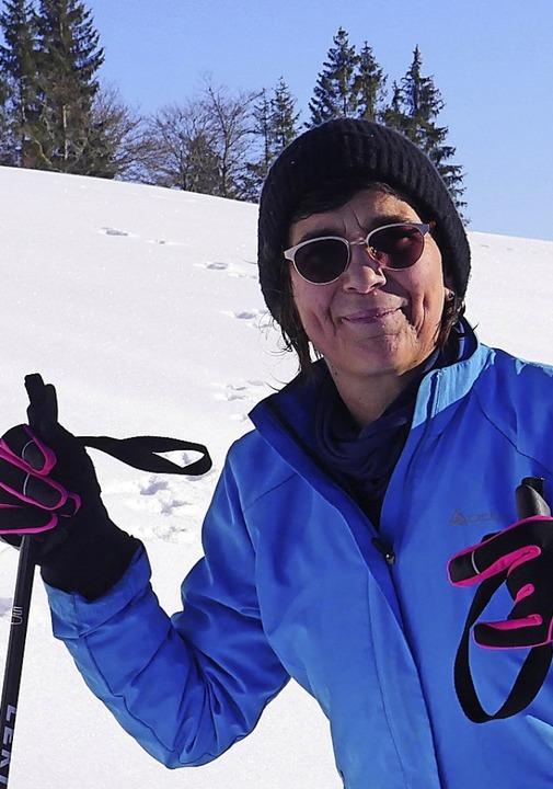 Autorin Martina David-Wenk genießt Schnee und Sonne.    Foto: Martina David-Wenk