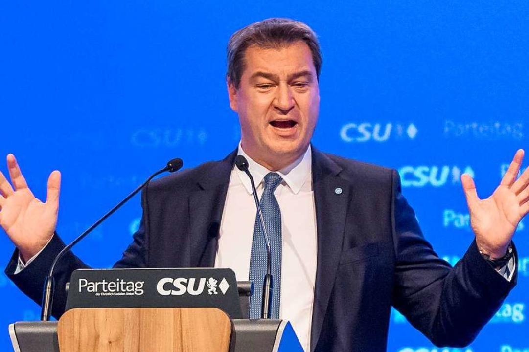 Der frischgebackene CSU-Vorsitzende un...rische Ministerpräsident Markus Söder.  | Foto: dpa
