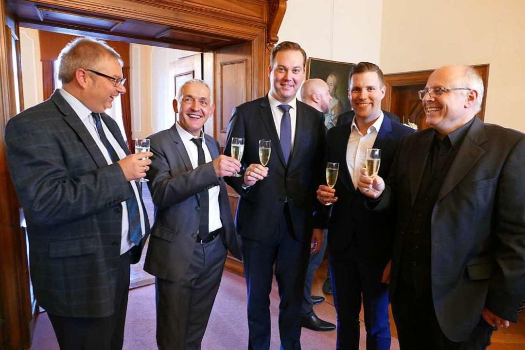 Vier Christdemokraten und ein Sozialde...er, Manuel Hagel und Johannes Mulflur.    Foto: Axel Kremp