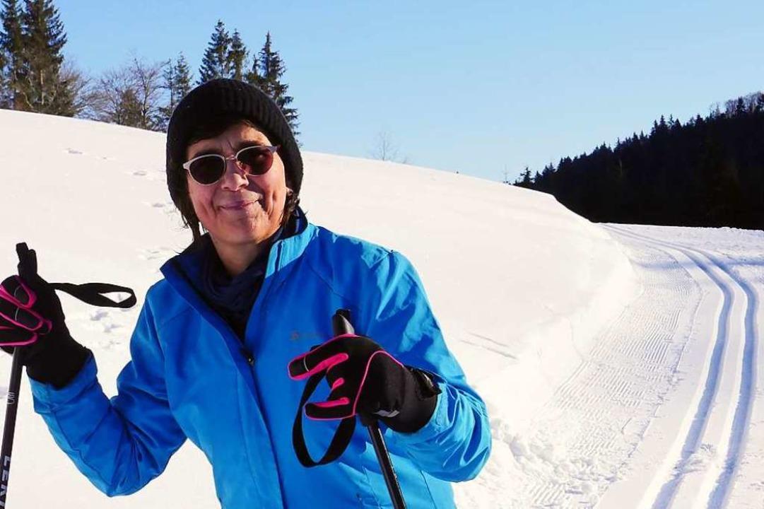 Autorin Martina David-Wenk genießt Schnee und Sonne.  | Foto: Martina David-Wenk