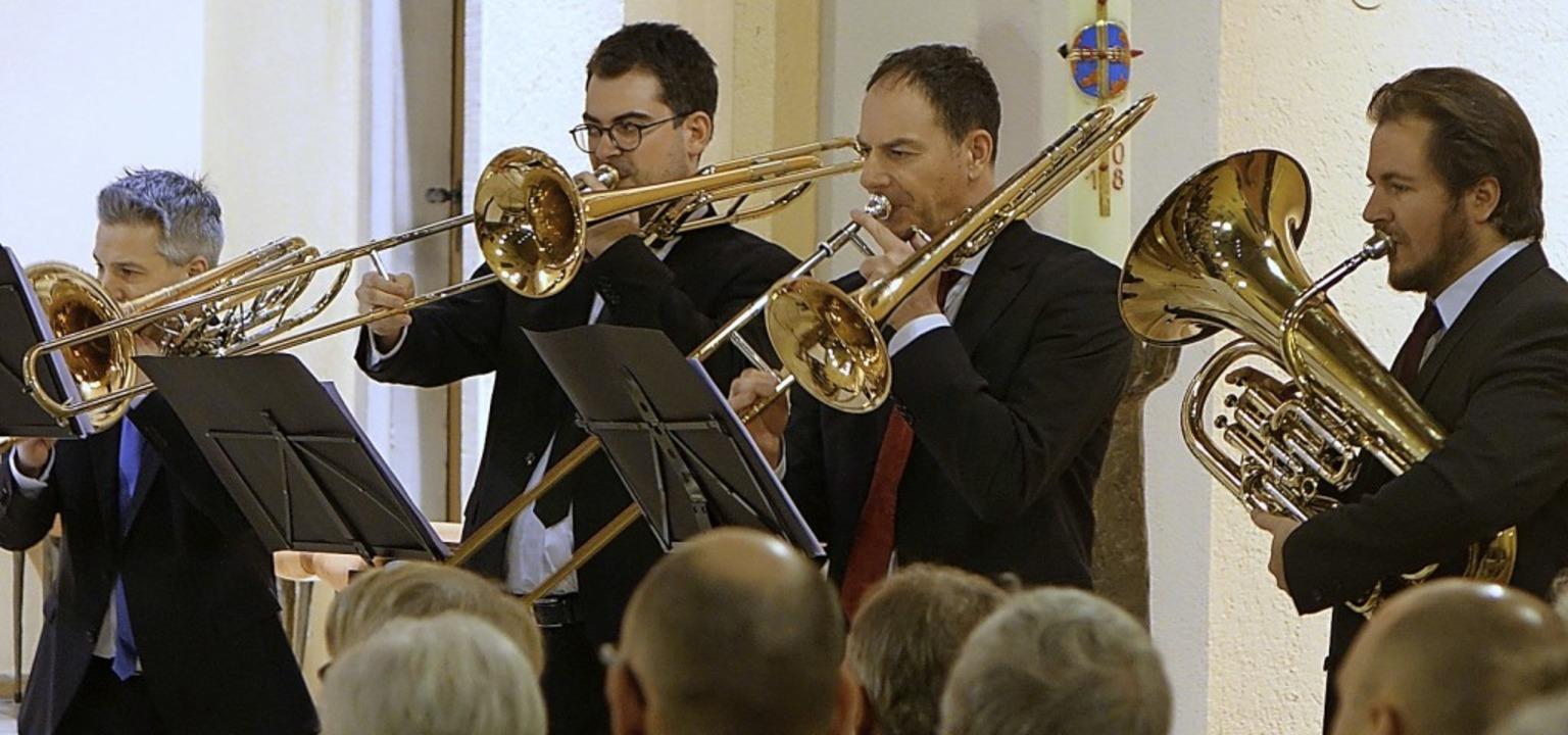 Die Posaunen-Euphonium-Gruppe des zehnköpfigen Ensembles     Foto: Roswitha Frey