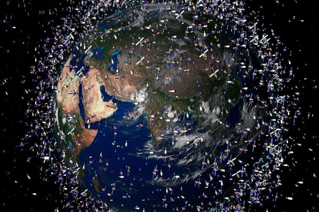 Illustration der ESA, die die zunehmen...üllung der Erdumlaufbahn zeigen soll.   | Foto: Illustration: AFP