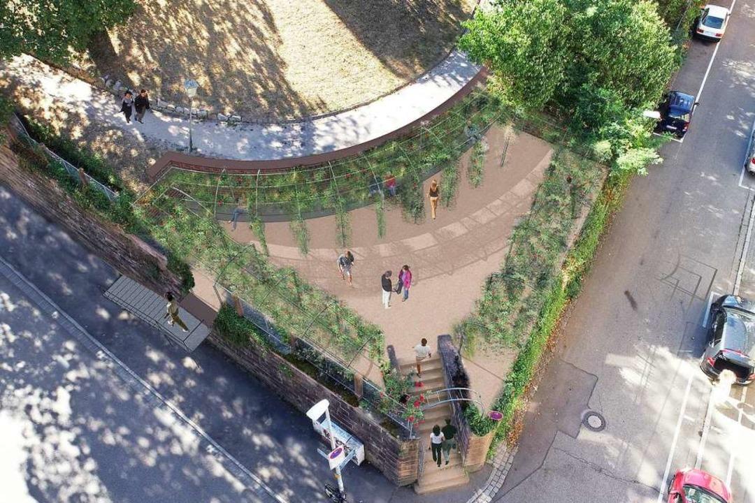 So soll die Terrasse an der Ecke Rosastraße/Colombistraße mal  aussehen.  | Foto: Stadt Freiburg