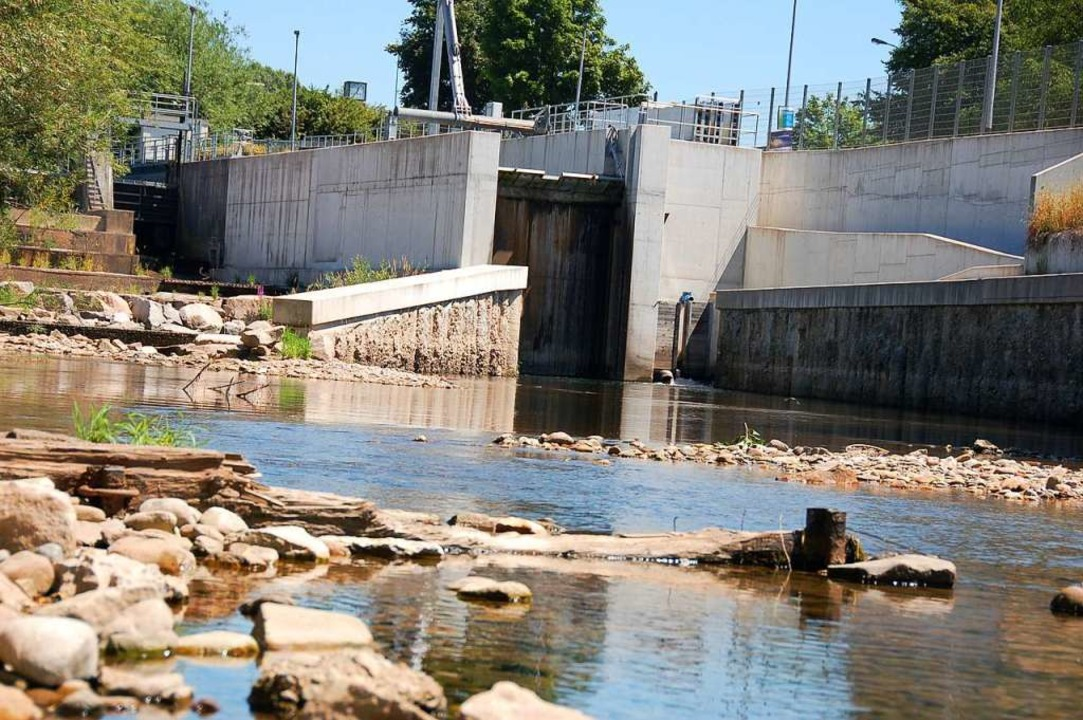 Der Fluss im Juli: Steine ragen aus dem Flussbett am Wehr in Tumringen.  | Foto: Nikolaus Trenz