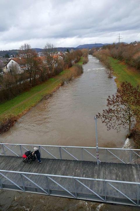 Der Fluss im Januar: Ein Frau schiebt ... hohen Wasserstand der Wiese hinunter.  | Foto: Peter Gerigk