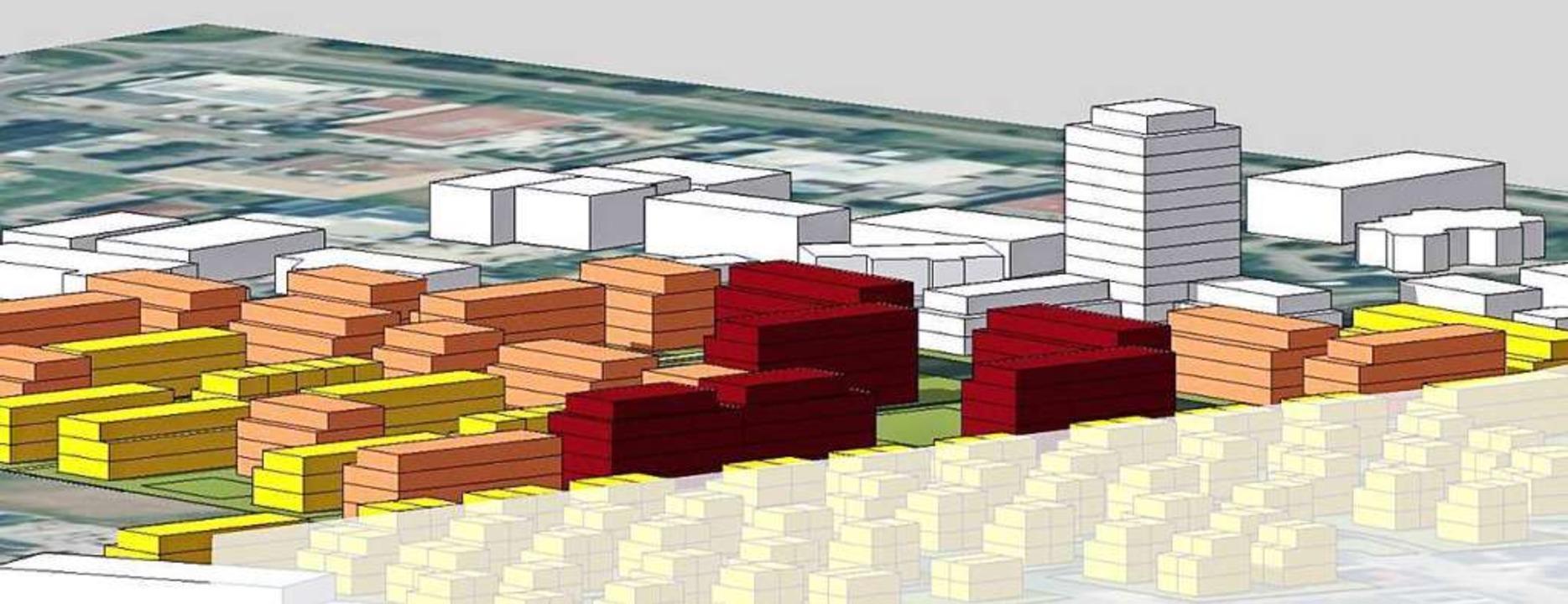 So hätte ein Hochhaus im neuen Baugebi...gehört zum Baugebiet Vogesenstraße II.  | Foto: FSP Stadtplanung