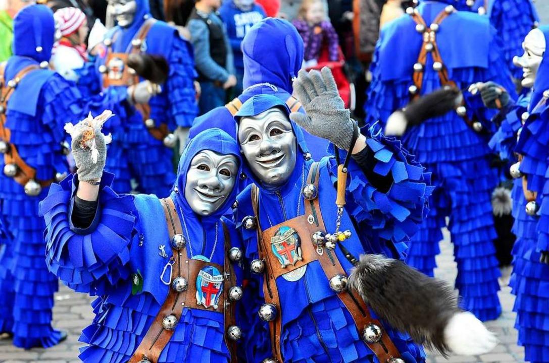 """Bei Fasnachtsumzügen sind die Vorgaben...#8222;Blaue Narre""""  aus Freiburg    Foto: Ingo Schneider"""