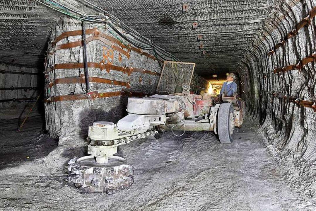 Blick in das alte elsässische Bergwerk... dem eine große Menge Giftmüll lagert.  | Foto: bz