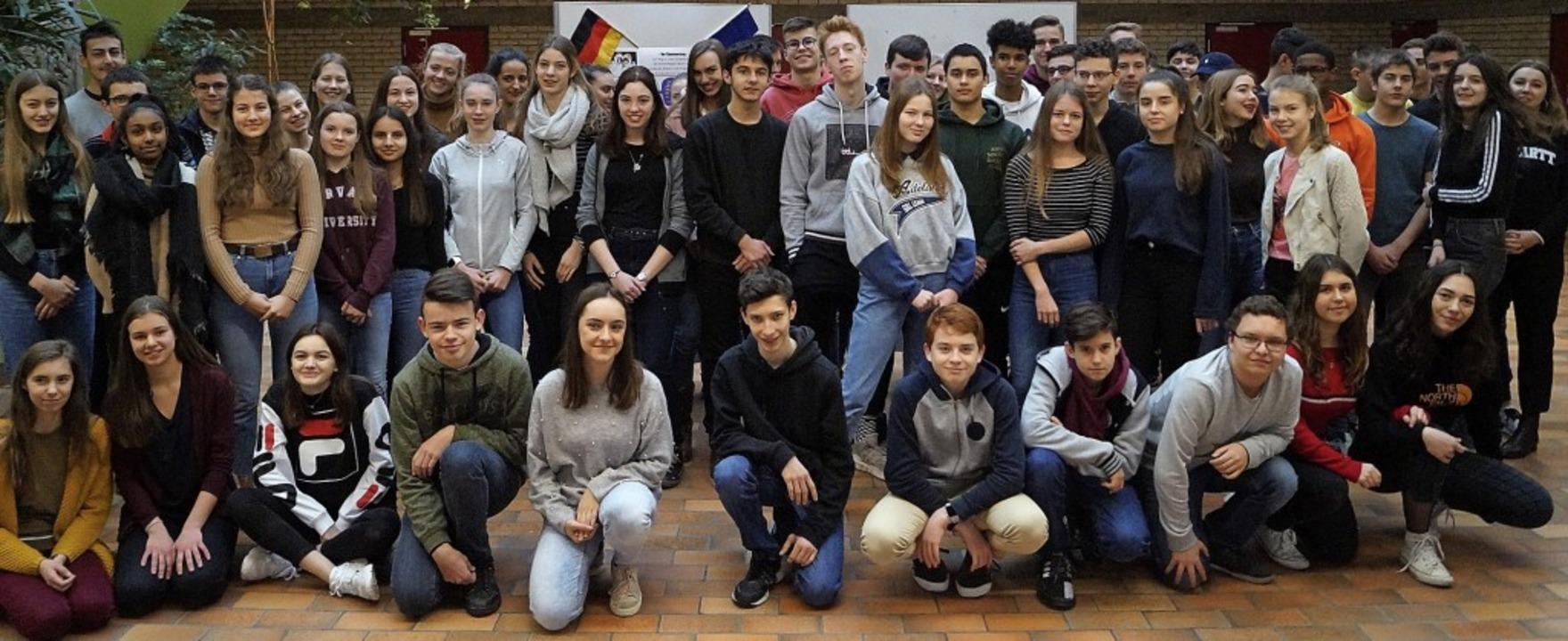 Den Jahrestag der  Unterzeichnung des ...t mit dem Lycée Bartholdi in  Colmar.     Foto: MSG