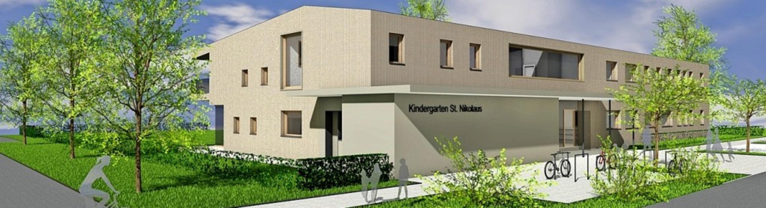 Der Entwurf für den neuen Kindergarten St. Nikolaus in Ichenheim     Foto: Kopf Architekten
