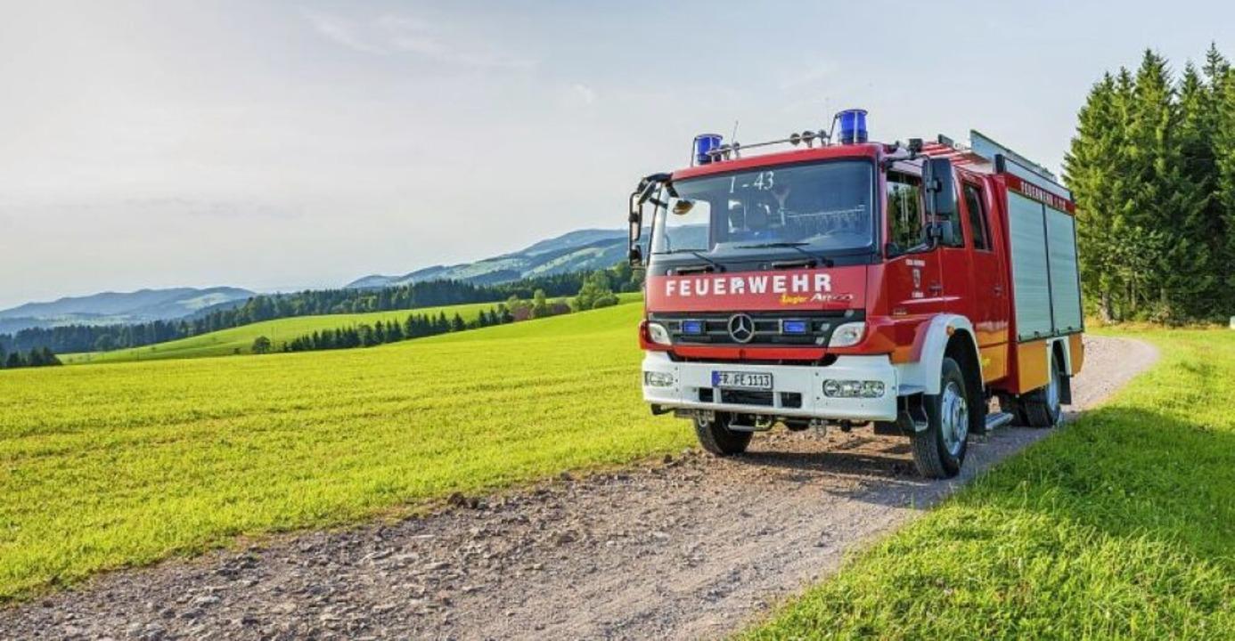 Juni: Feuerwehrfahrzeug inmitten saftig-grüner Wiesen  | Foto: Felix Walter (fw-imaging.de)