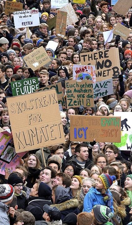 Schüler streikten am 18. Januar und de...rierten  für klimafreundliche Politik.    Foto: Thomas Kunz
