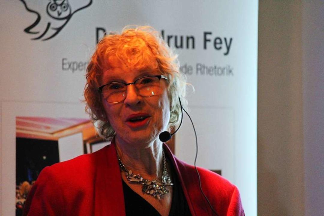 Rhetorik-Trainerin Gudrun Fey.  | Foto: Joshua Kocher