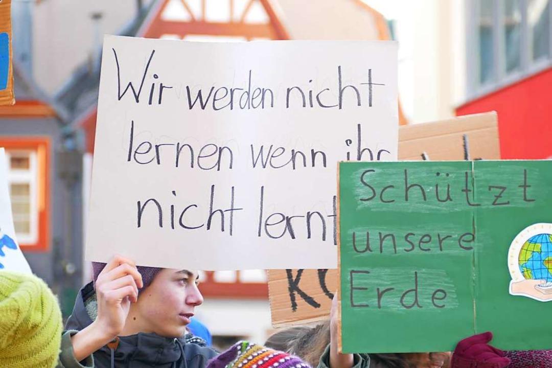 Auch in Offenburg streikten die Schüler  | Foto: Ralf Burgmaier