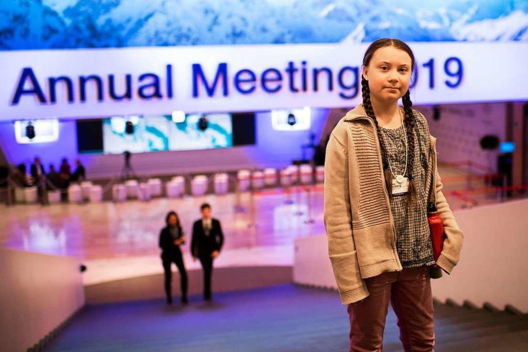 Die junge schwedische Klimaaktivistin ...ür ein stärkeres Klimabewusstsein ein.    Foto: dpa