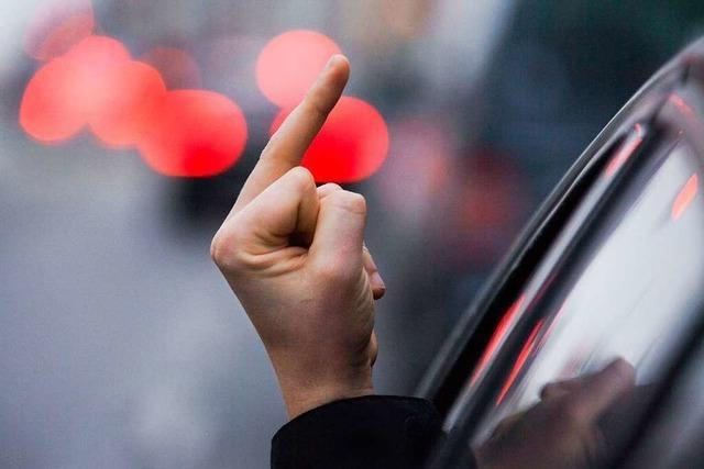Beifahrer zeigt Polizei an einer Kontrollstelle den Mittelfinger