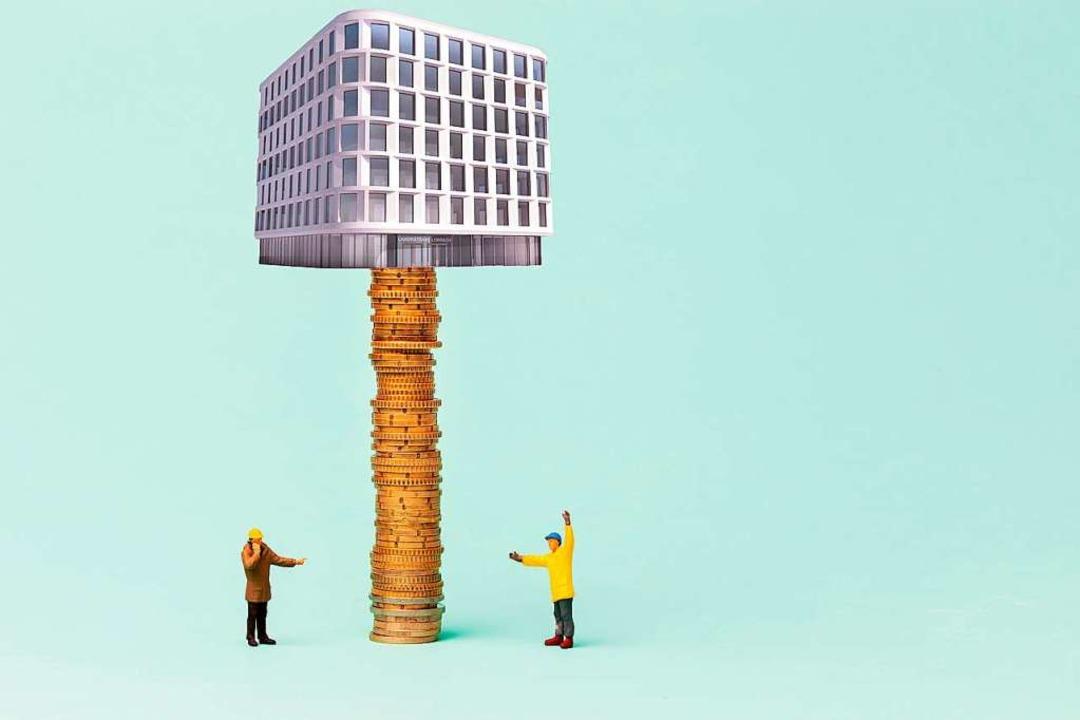 Und plötzlich explodieren die Kosten. ...etwa soll um 50 Prozent teurer werden.  | Foto: FotO/MOntage: lemontree-images/stock.adobe.com/Z9 Architekten/Zipperlen