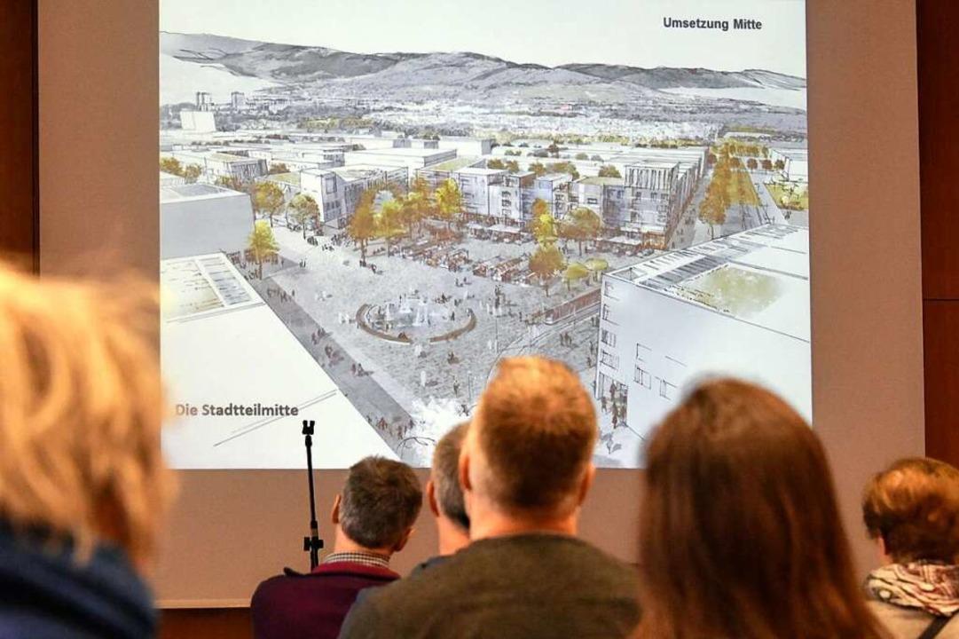 Zuerst gab's Visualisierungen des geplanten Stadtteils.  | Foto: Michael Bamberger