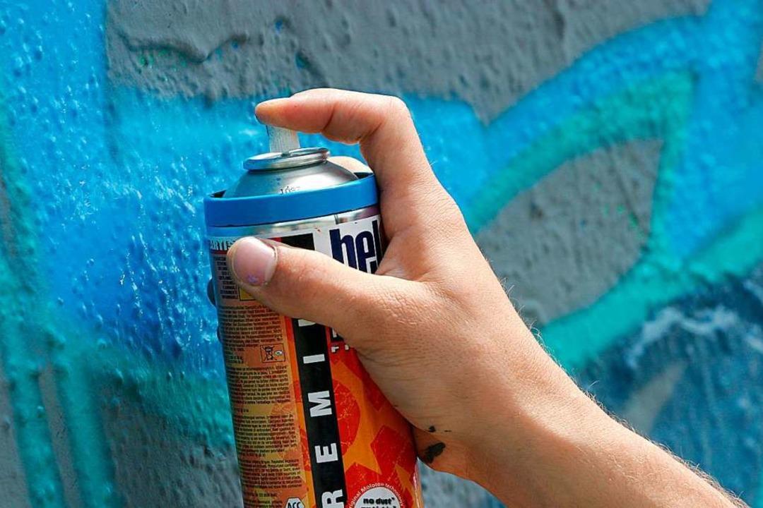 Zwei Graffiti-Sprayer besprühten ein Garagentor in der Merianstraße.    Foto: Tobias Felber