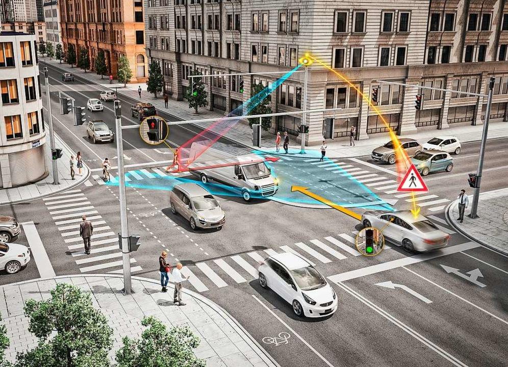 Auch Kreuzungen können durch in Straße...Kameras intelligent gesteuert werden.   | Foto: continental
