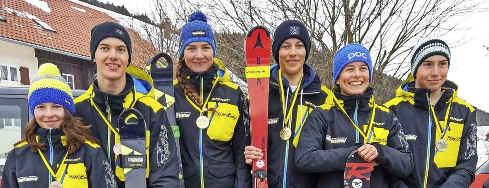 Beim Slalom auf dem Podest (von links)...s Schoch, Ronja Wiesler und Ayk Irmen   | Foto: siegmund