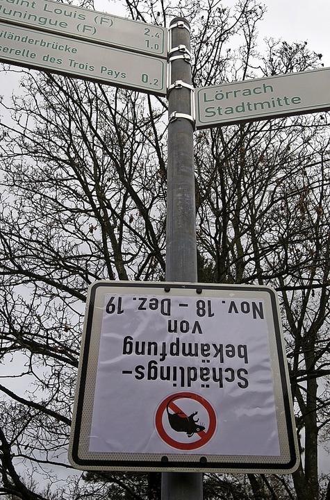 Da steht was Kopf: Hinweisschild im Rheinpark   | Foto: Helmut Porsche