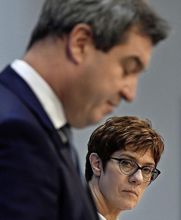 Söder und Kramp-Karrenbauer beim gemeinsamen Auftritt     Foto: afp