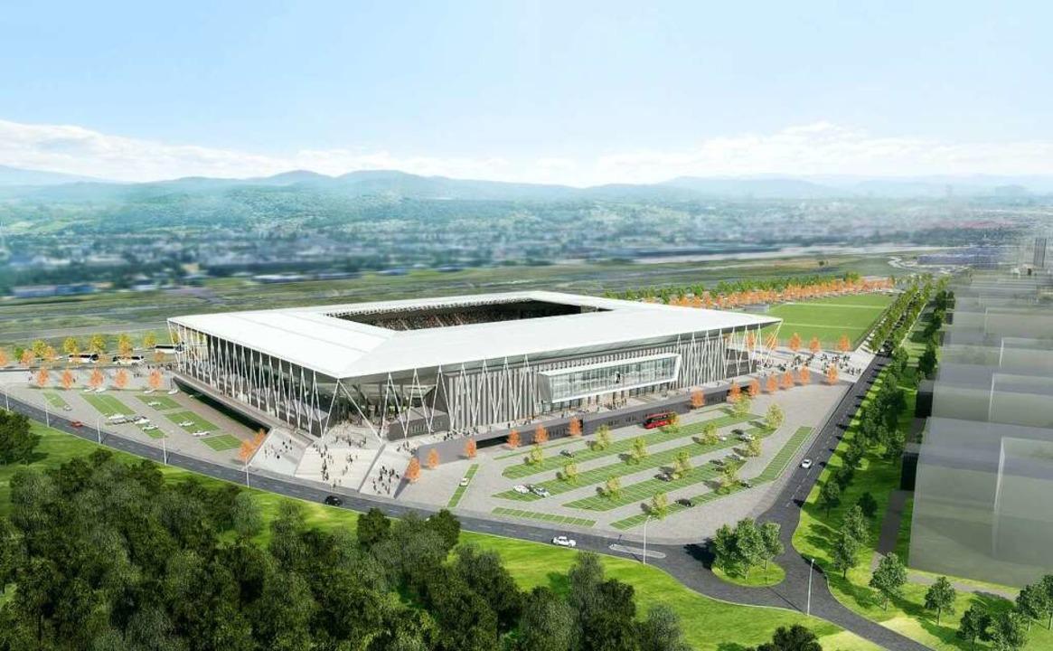 Der Entwurf des neuen SC-Stadions im Freiburger Westen  | Foto: HPP Architekten/WillMore