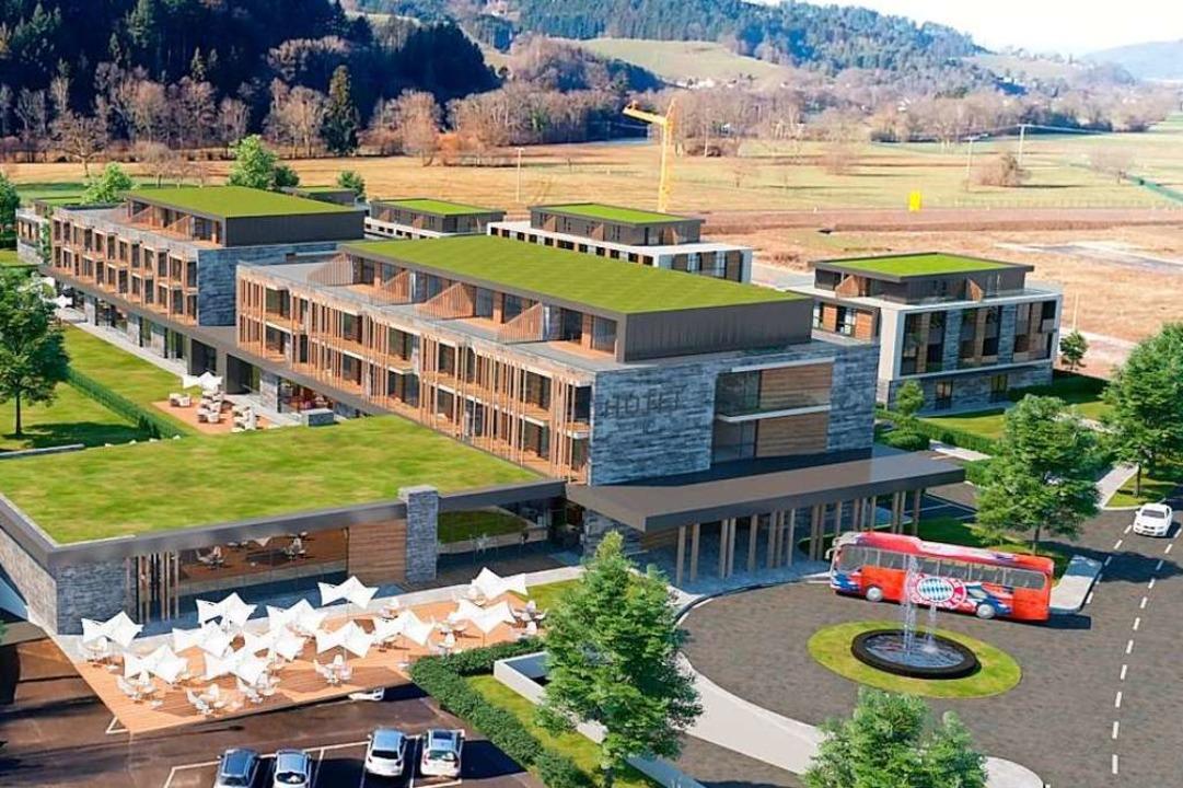 Hotel und Wohnungen aus der Vogelperspektive, rechts oben das Kurhaus.  | Foto: Privat