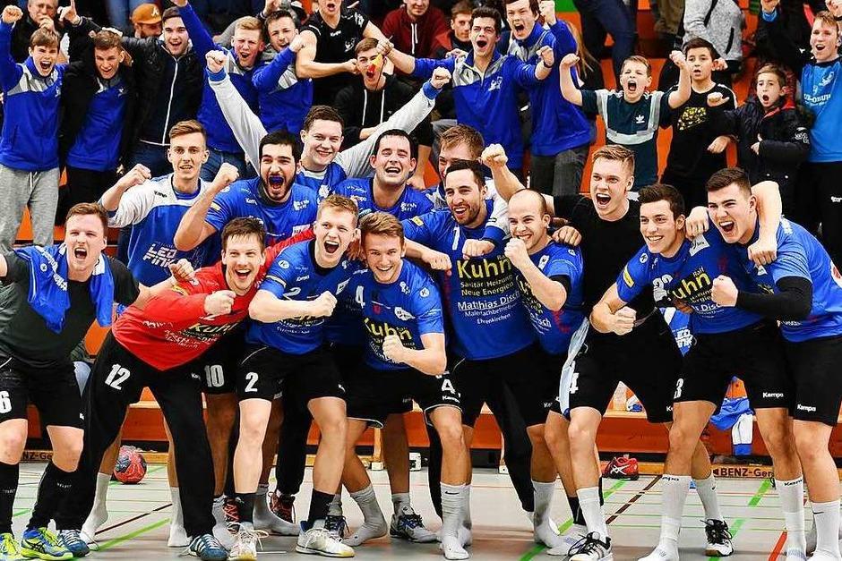 Jubel beim Sieger Handball-Union Freiburg (Foto: Achim Keller)