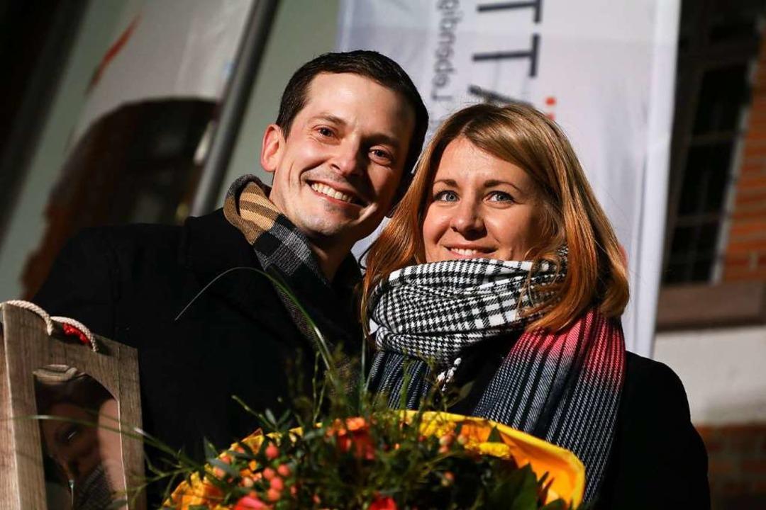 Christian Huber (38), hier mit seiner ...sten Wahlgang das Willstätter Rathaus.  | Foto: Dieter Steffens