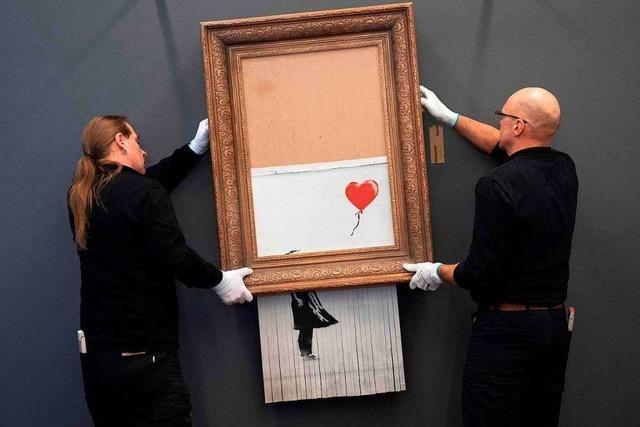 Zerschnittenes Banksy-Bild im Museum Frieder Burda aufgehängt