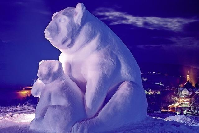 Acht Teams lassen in Bernau aus Schneeblöcken Skulpturen enstehen.