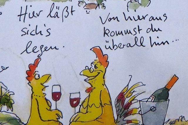Pfaffenweiler wirbt mit Huhn und Schnecke von Peter Gaymann