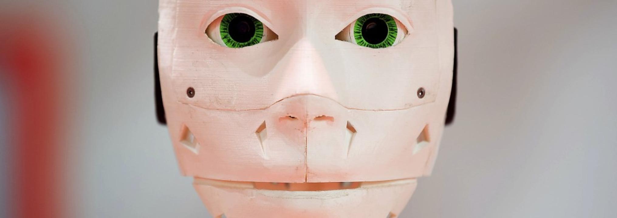 Ein Robotergesicht, das mit einem 3-D-...chnik gilt als viel zukunftsträchtig.     Foto: DPA