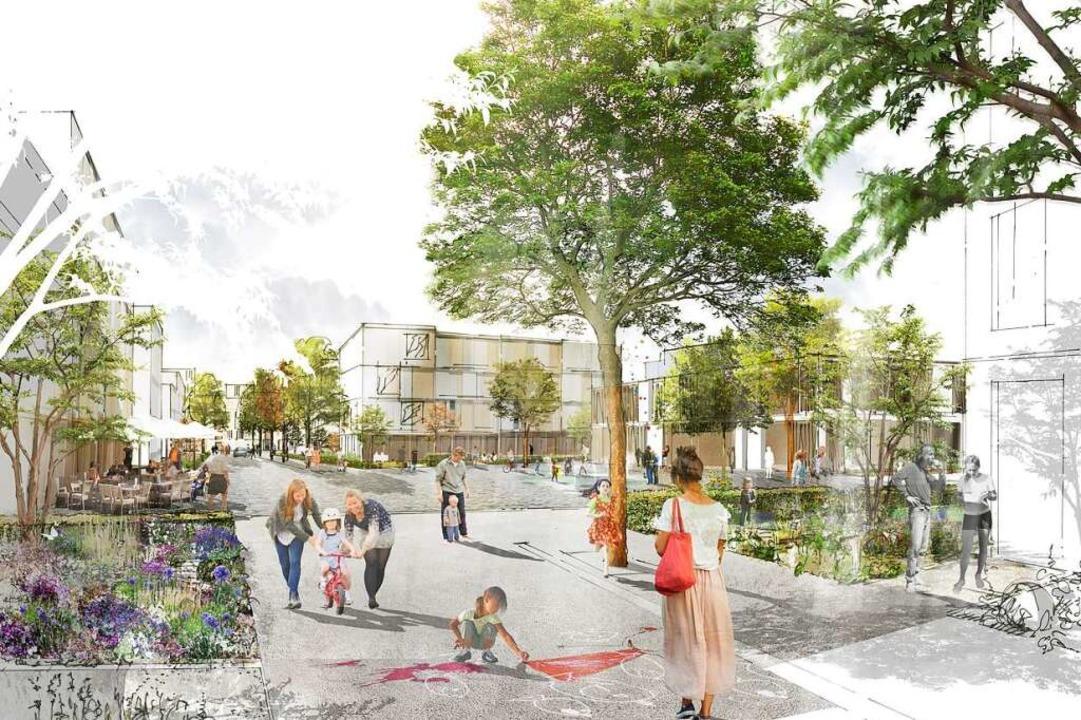 Eine Visualisierung des neuen Stadttei...üro K9 Architekten gebaut werden soll.  | Foto: K9 ARCHITEKTEN  GmbH