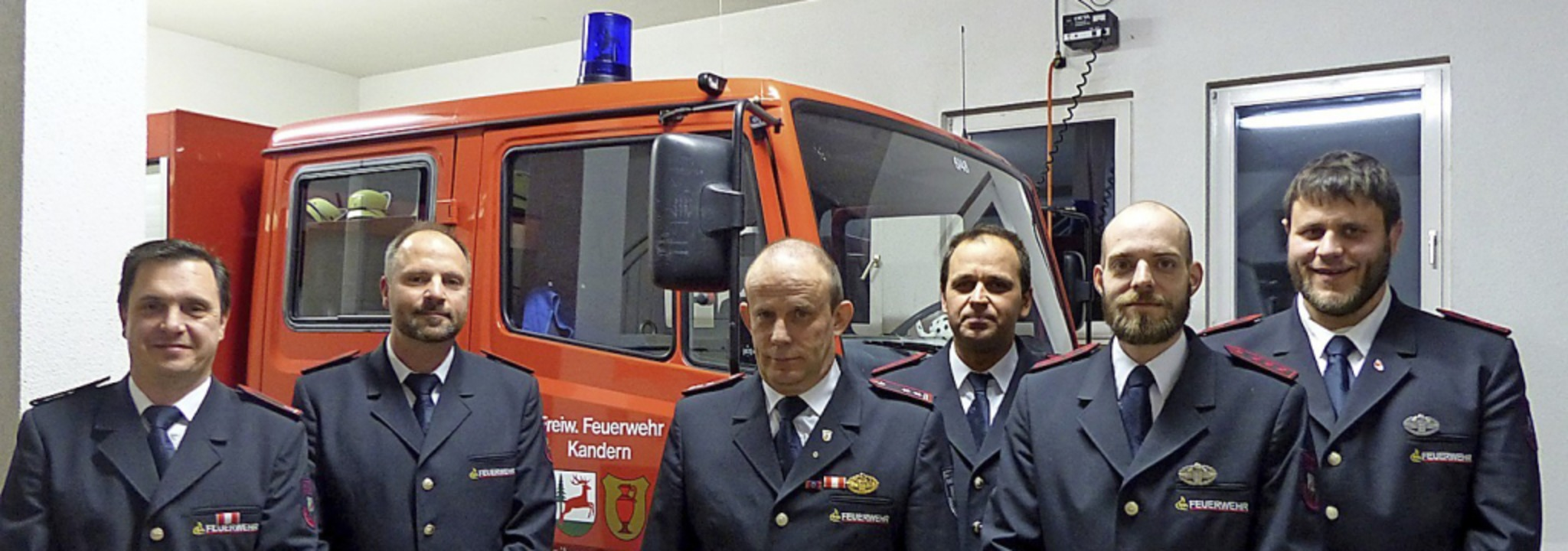 Der Ausschuss der Abteilungsfeuerwehr ... Mäder und Mathias Wieber (von links)     Foto: Anika Lenke