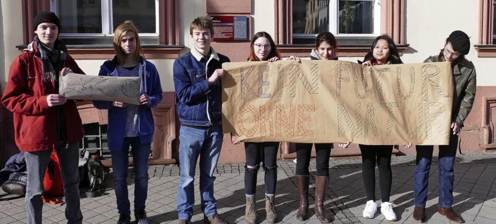Diese Schüler vom Kehler Einstein-Gymn...dem Offenburger Rathaus demonstriert.   | Foto: Burgmaier