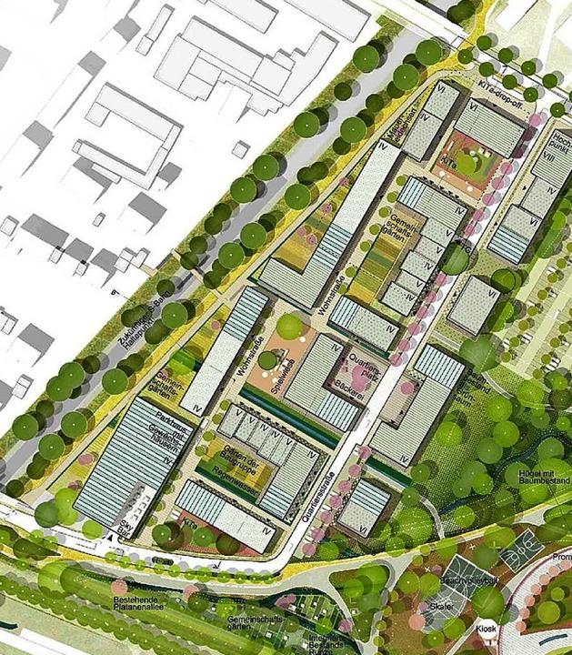 Der Ausschnitt  aus einem Entwurf von ...iner neuen Straße  parallel zur Bahn.   | Foto:  privat