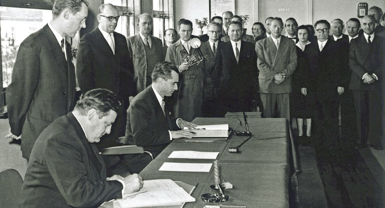Am 31. März 1958  unterzeichneten Fran...die dann im Juni 1959 in Kraft trat.    | Foto: ISL