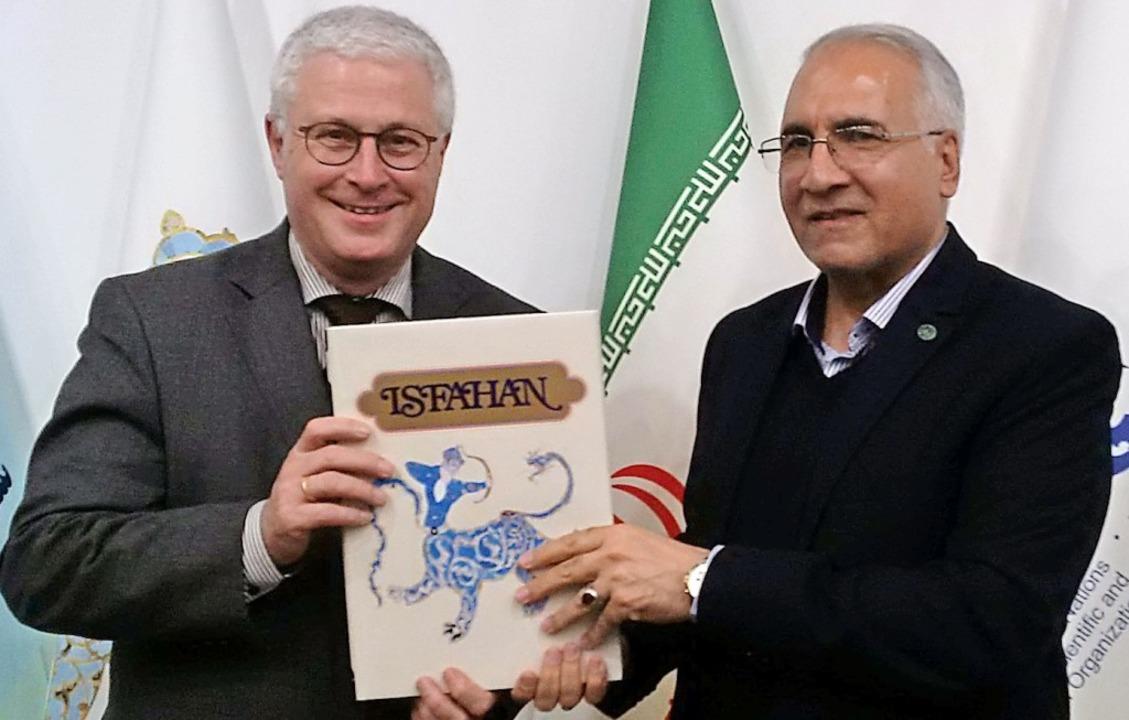 Weil am Rheins OB Wolfgang Dietz mit d...von Isfahan, Dr. Ghodratollah Norouzi     Foto: Stadt Weil am Rhein