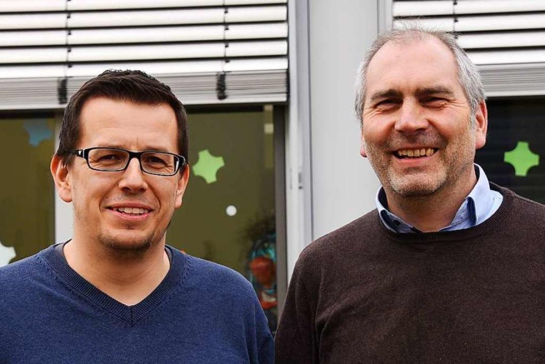 Rektor Stefan Royl (rechts) und Konrek... Interview Rede und Antwort gestanden.  | Foto: Robert Bergmann