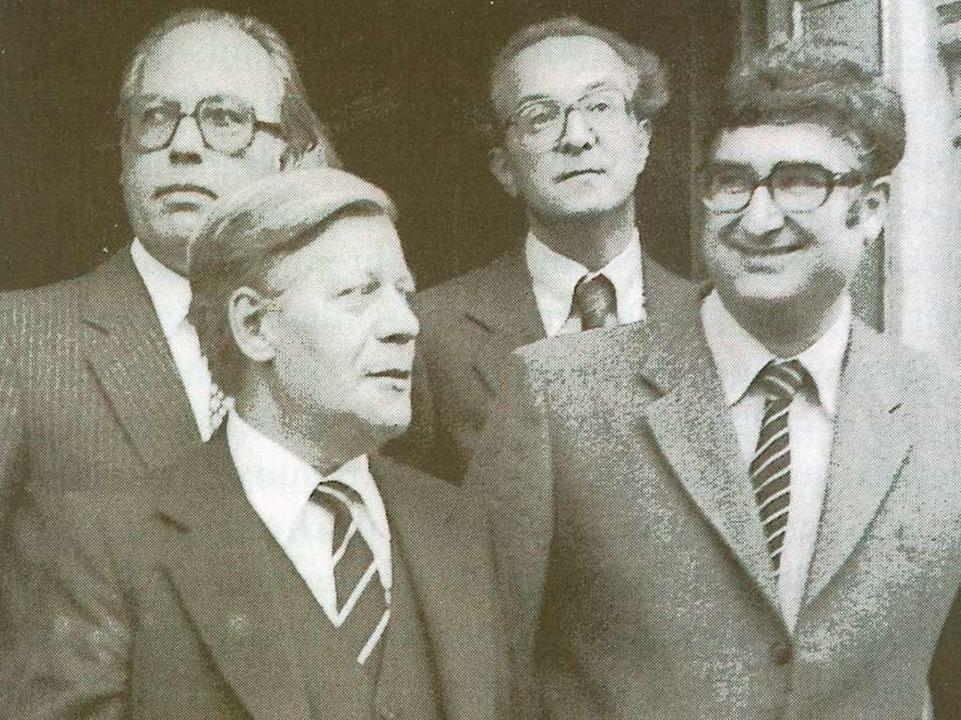 Rolf Böhme als Wahlkämpfer mit Helmut Schmidt 1982    Foto: Stadtarchiv Freiburg