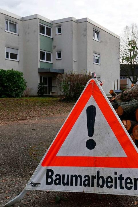 Am Dienstag fanden erst einmal Baumfällarbeiten statt.  | Foto: Hans-Peter Müller