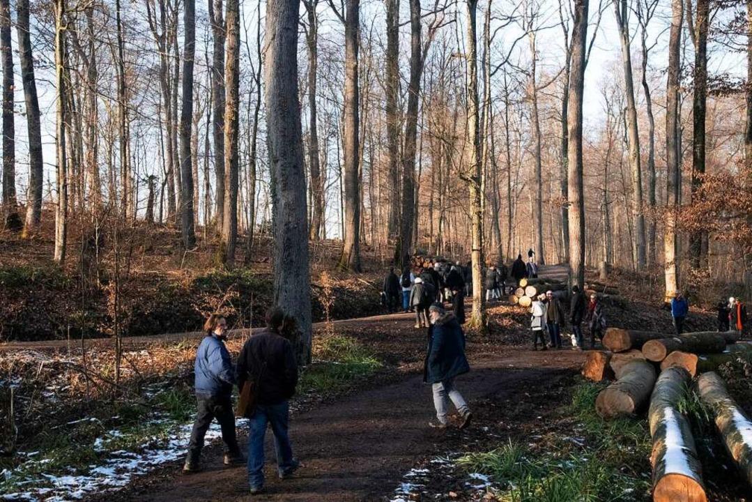 Rund 60 interessierte Bürgerinnen und ...erinitiative durch den Eichwald teil.   | Foto: Volker Münch