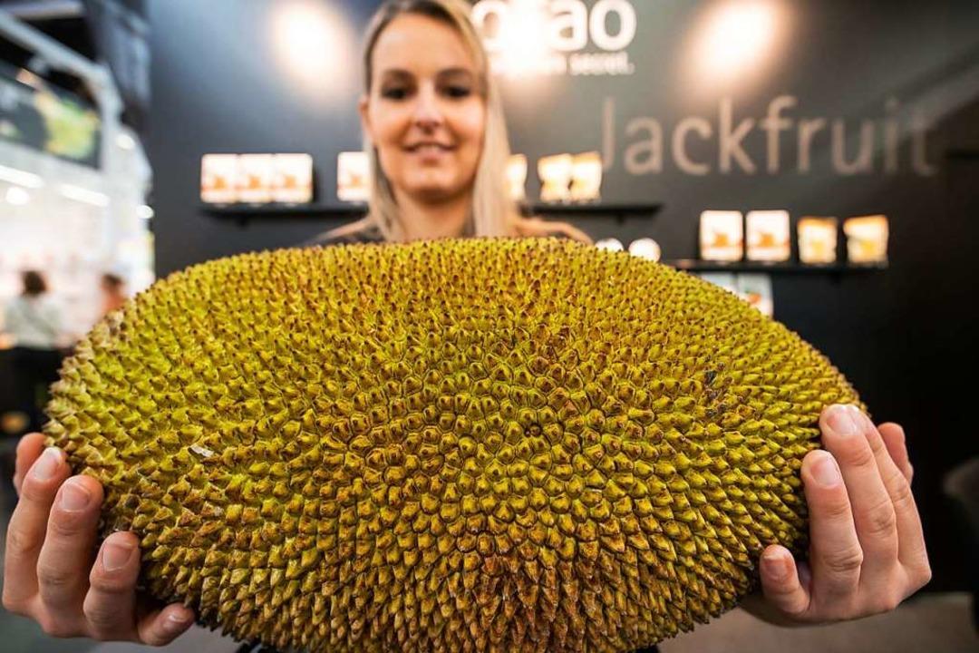 Eine Jackfrucht, deren Fleisch unter a...er Öko-Fachmesse Biofach  ausgestellt.  | Foto: DPA
