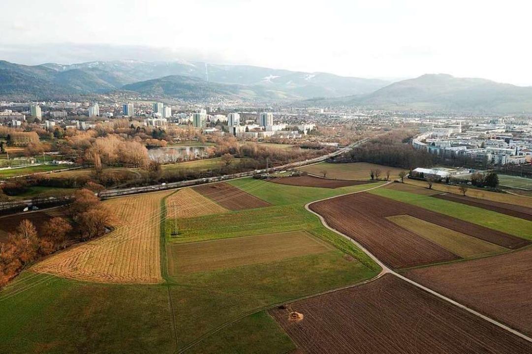 Entsteht hier Wohnraum für 15.000 Frei...das Gebiet landwirtschaftlich genutzt.  | Foto: Michael Saurer